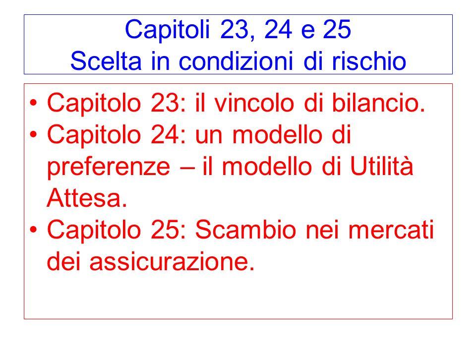 Capitoli 23, 24 e 25 Scelta in condizioni di rischio