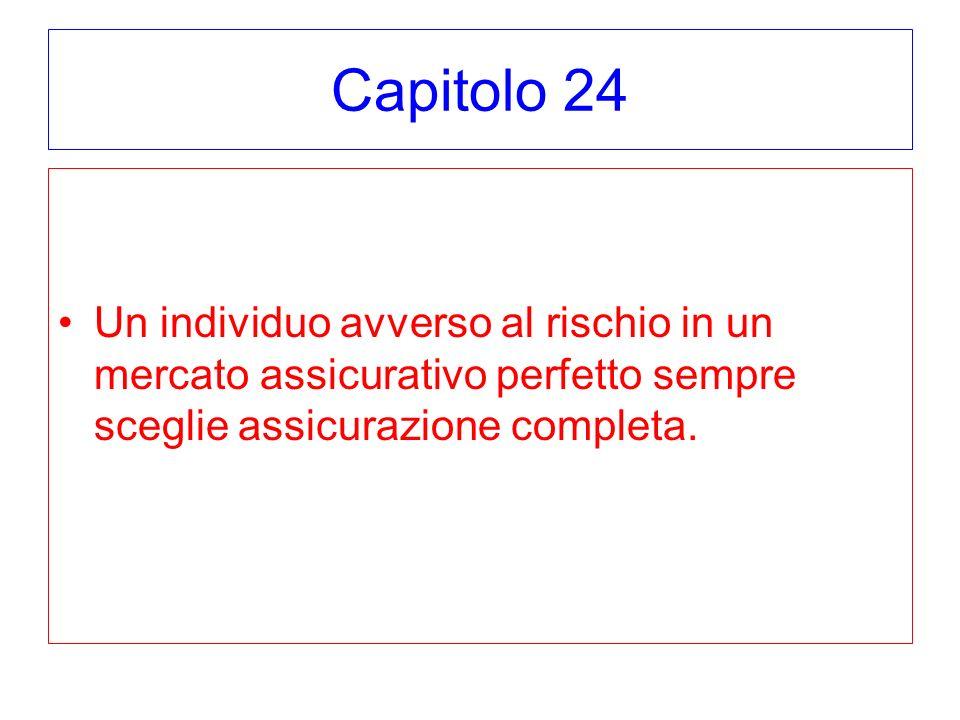 Capitolo 24 Un individuo avverso al rischio in un mercato assicurativo perfetto sempre sceglie assicurazione completa.