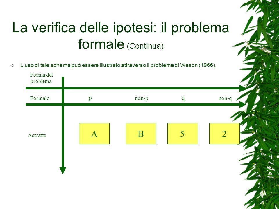 La verifica delle ipotesi: il problema formale (Continua)