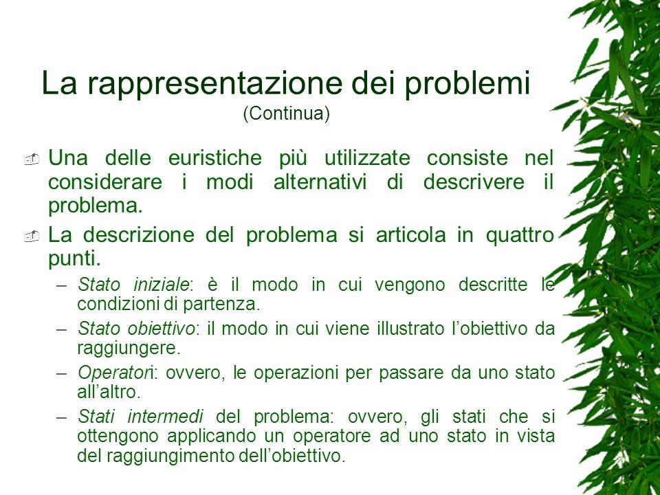 La rappresentazione dei problemi (Continua)