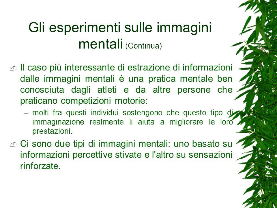 Gli esperimenti sulle immagini mentali (Continua)