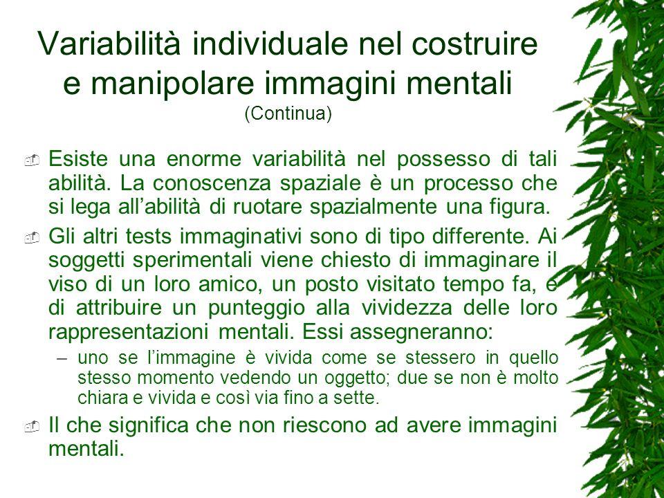 Variabilità individuale nel costruire e manipolare immagini mentali (Continua)