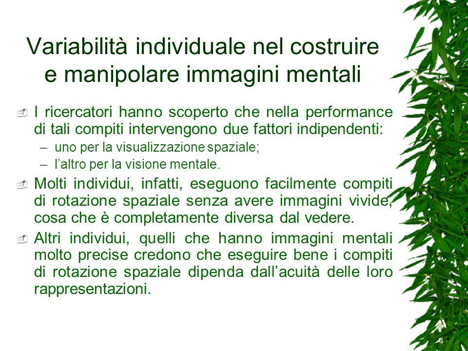 Variabilità individuale nel costruire e manipolare immagini mentali