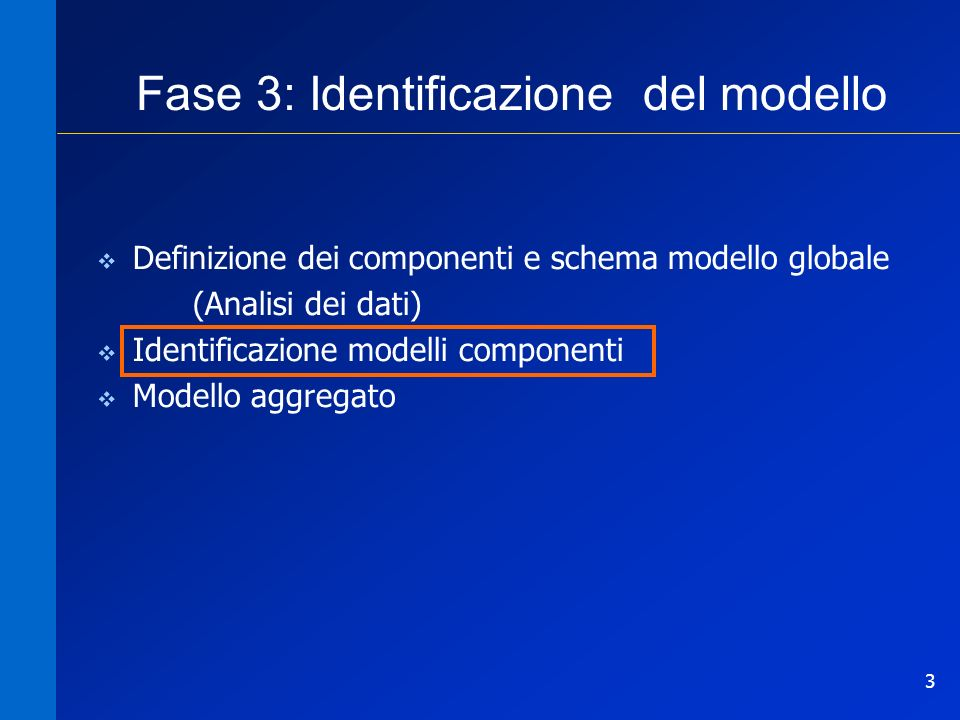 Fase 3: Identificazione del modello