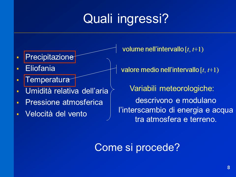 Quali ingressi Come si procede Precipitazione Eliofania Temperatura