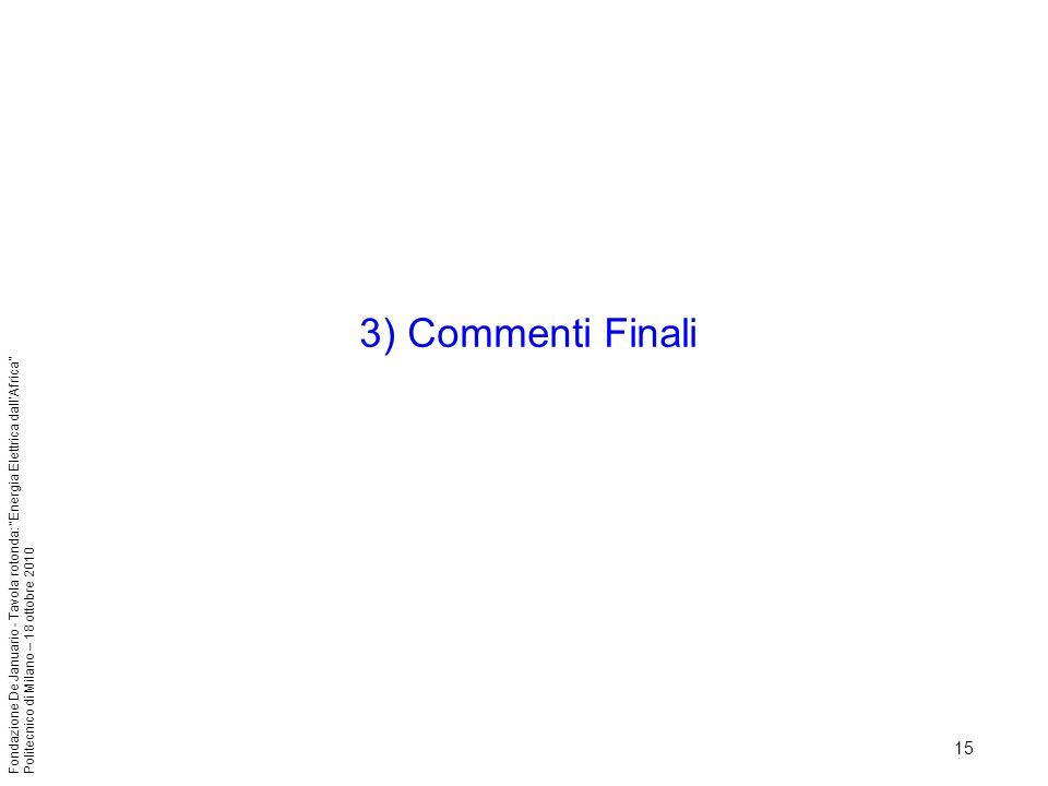 3) Commenti Finali