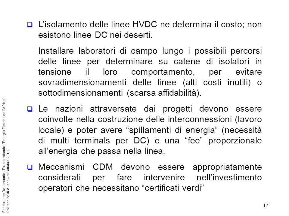 L'isolamento delle linee HVDC ne determina il costo; non esistono linee DC nei deserti.