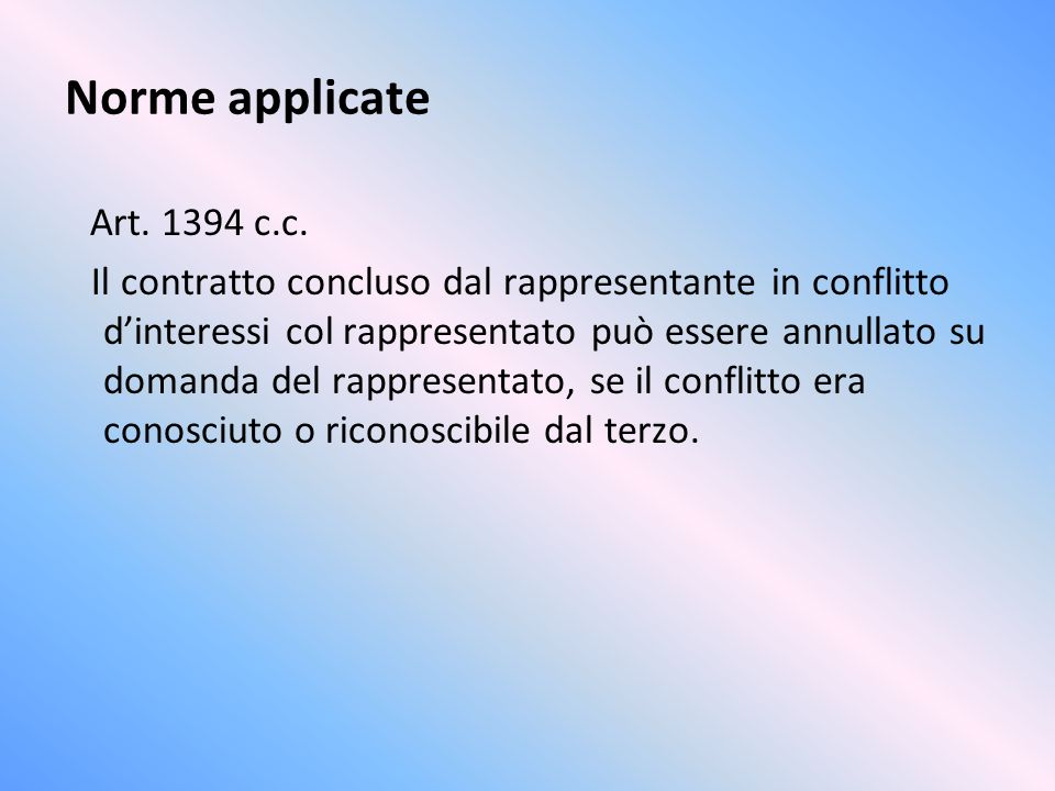 Norme applicate Art c.c.