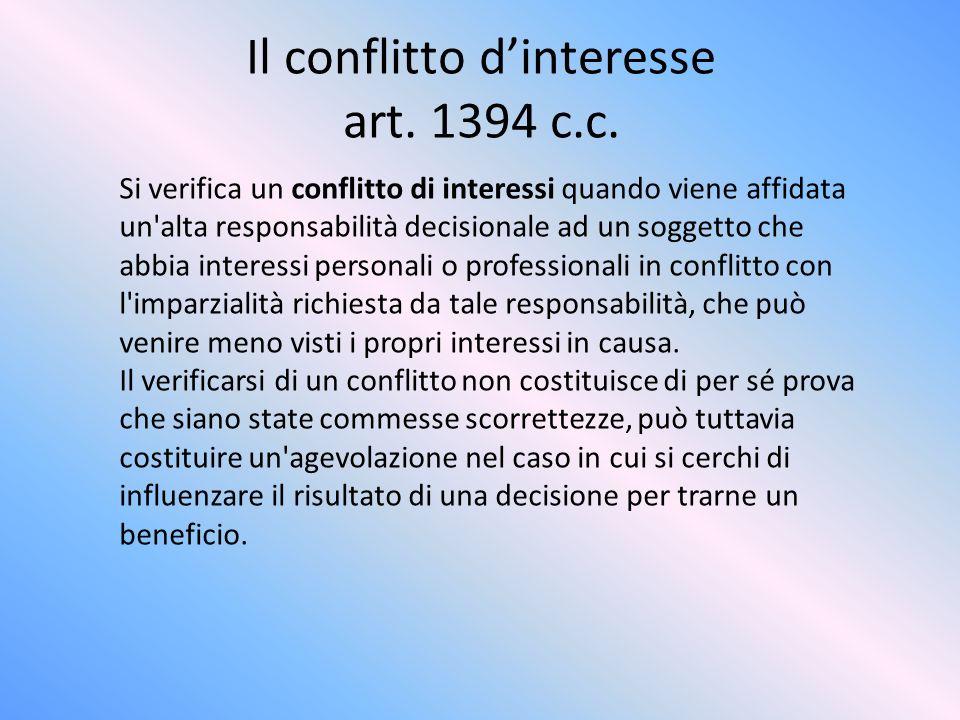 Il conflitto d'interesse art. 1394 c.c.