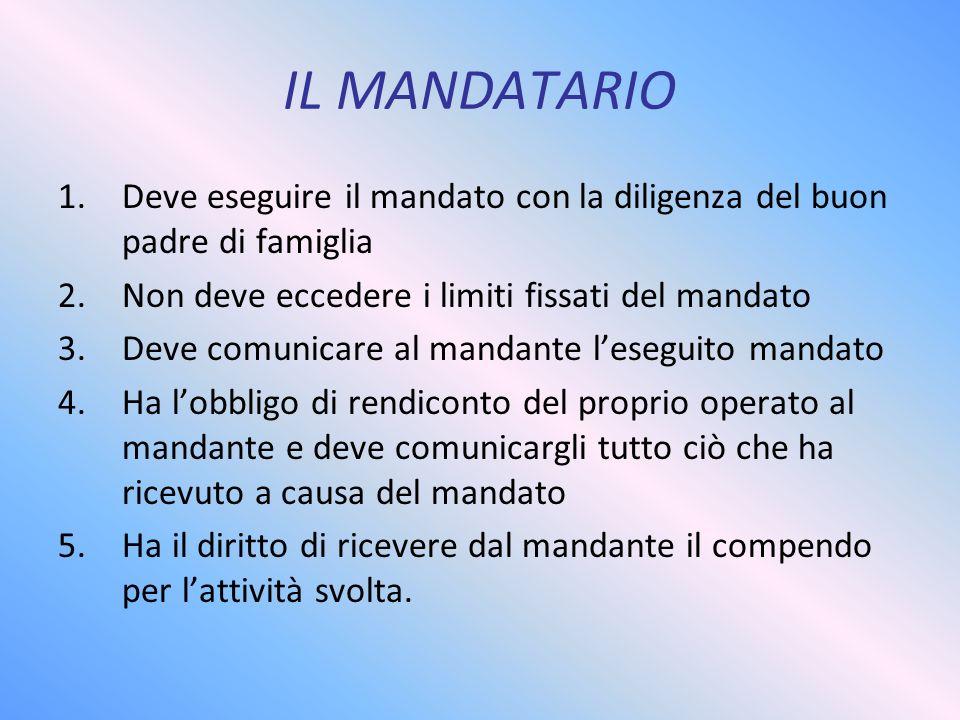 IL MANDATARIO Deve eseguire il mandato con la diligenza del buon padre di famiglia. Non deve eccedere i limiti fissati del mandato.