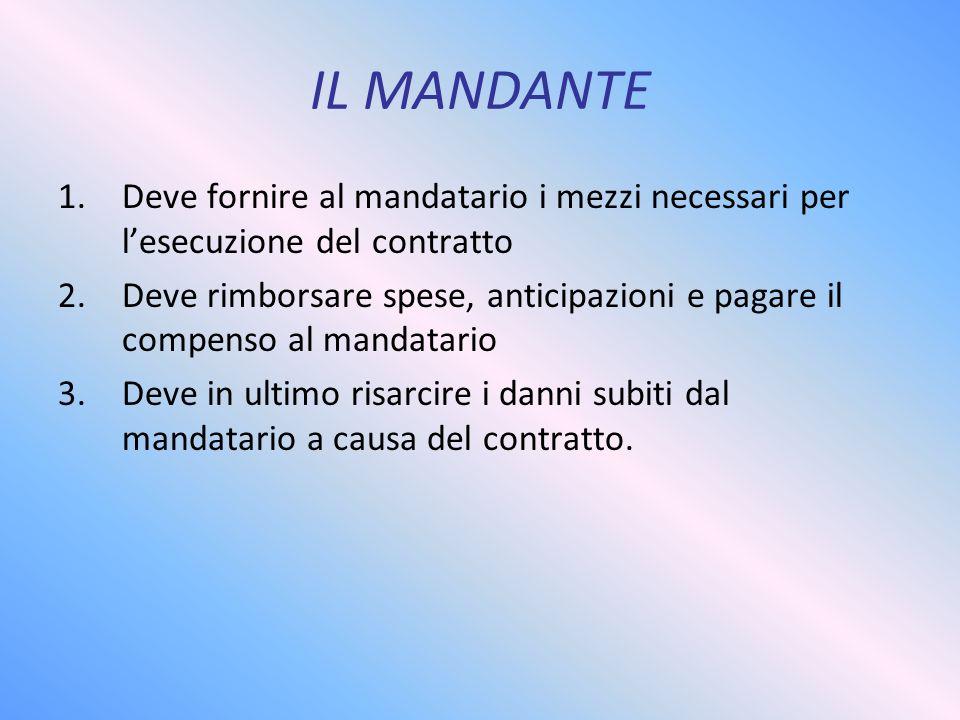 IL MANDANTE Deve fornire al mandatario i mezzi necessari per l'esecuzione del contratto.