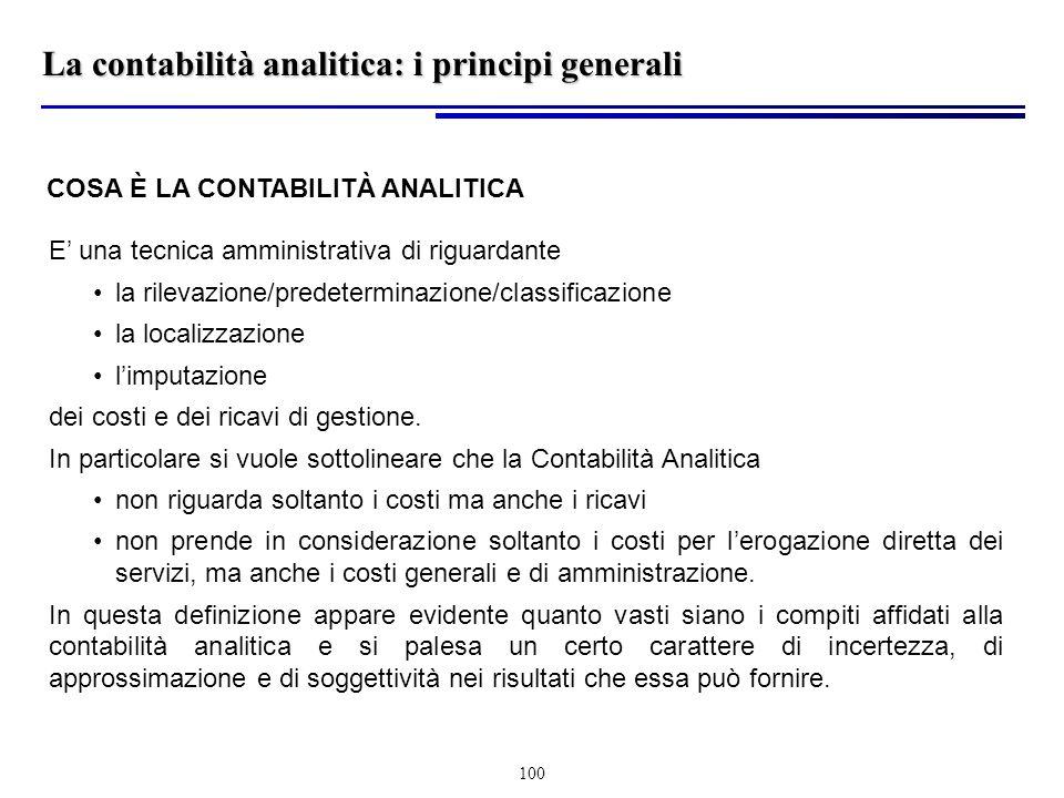 La contabilità analitica: i principi generali