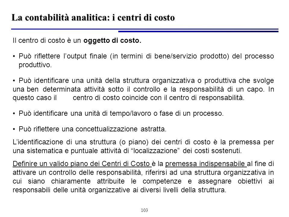 La contabilità analitica: i centri di costo