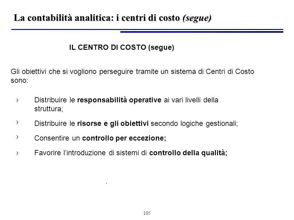 La contabilità analitica: i centri di costo (segue)