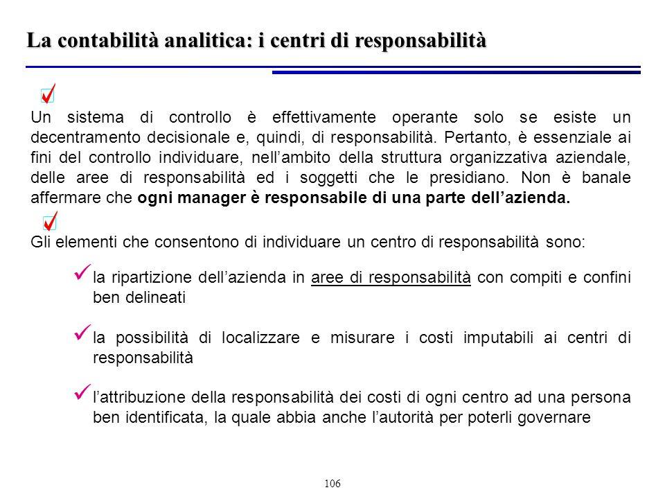 La contabilità analitica: i centri di responsabilità