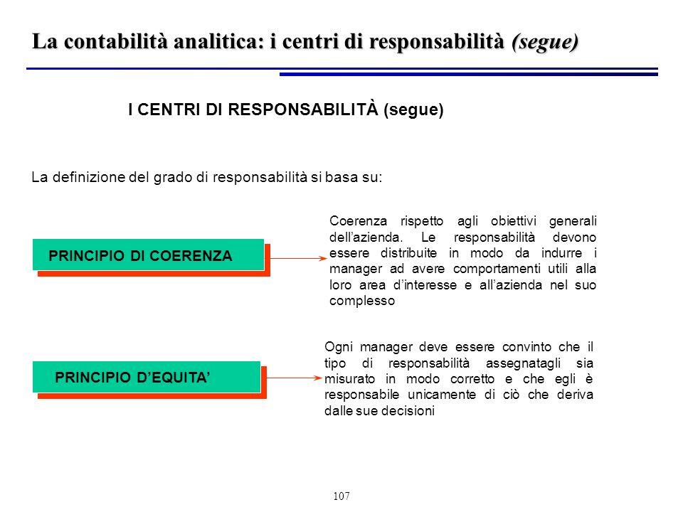 La contabilità analitica: i centri di responsabilità (segue)