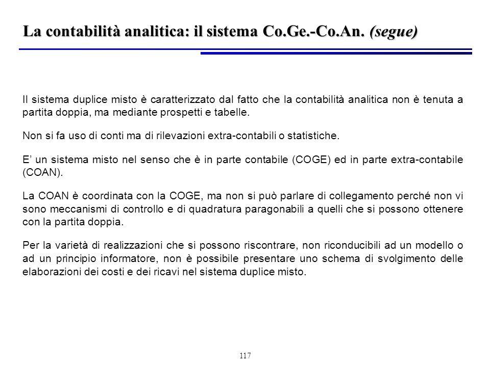 La contabilità analitica: il sistema Co.Ge.-Co.An. (segue)