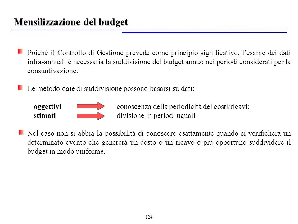 Mensilizzazione del budget