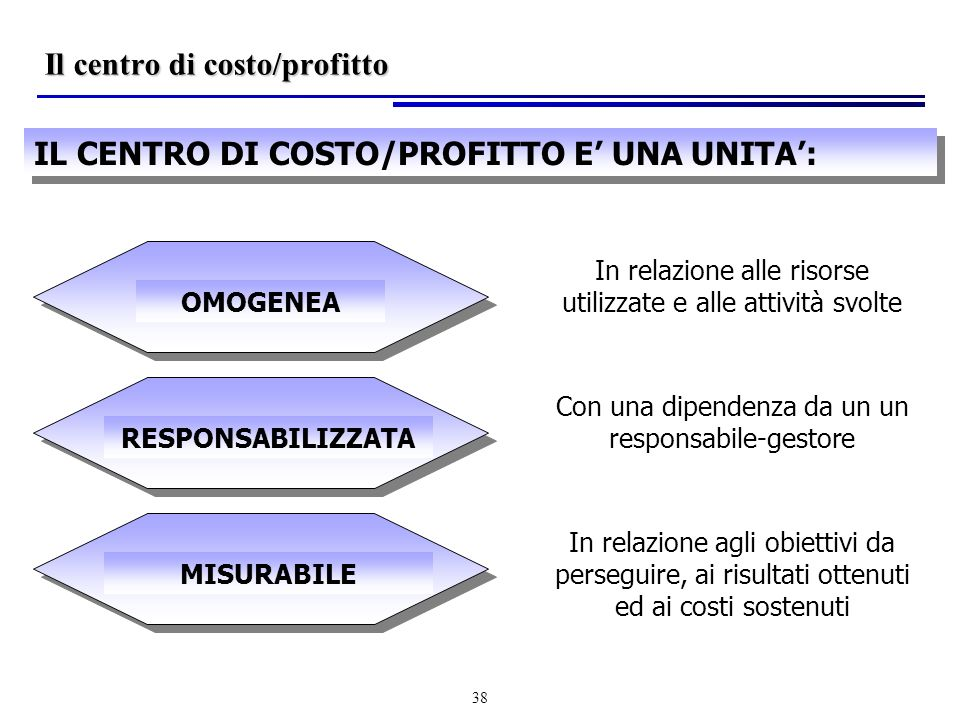 Il centro di costo/profitto