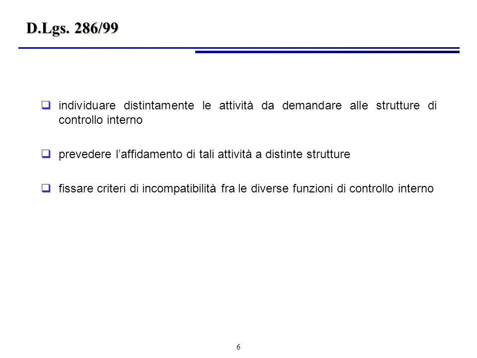 D.Lgs. 286/99 individuare distintamente le attività da demandare alle strutture di controllo interno.