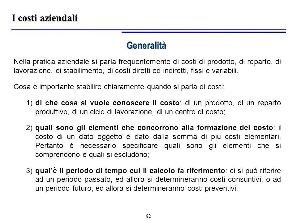 I costi aziendali Generalità