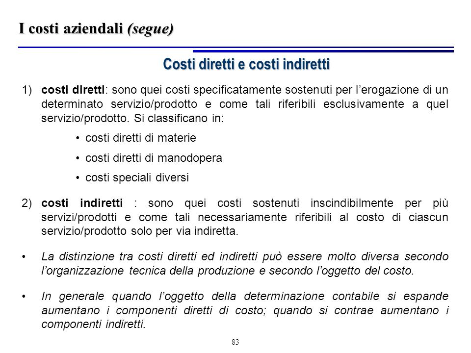 Costi diretti e costi indiretti