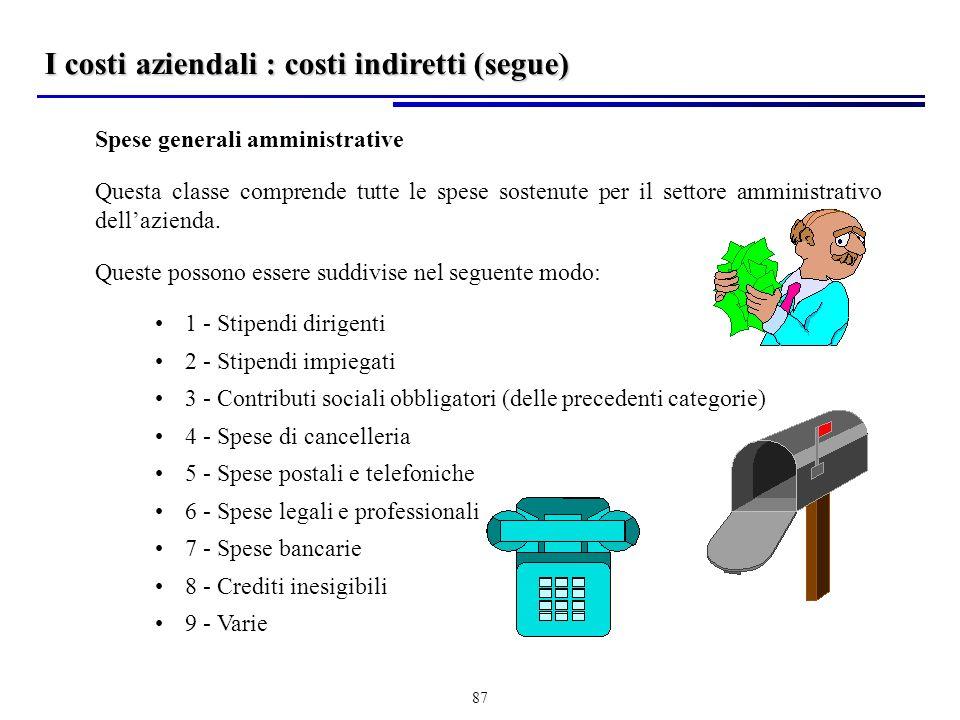 I costi aziendali : costi indiretti (segue)