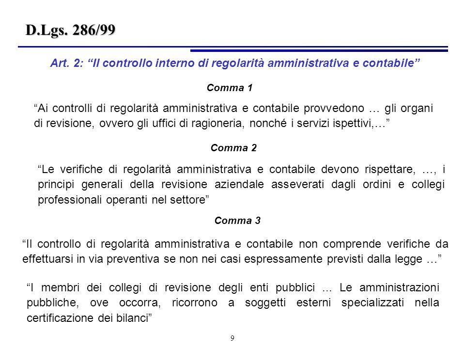 D.Lgs. 286/99 Art. 2: Il controllo interno di regolarità amministrativa e contabile Comma 1.