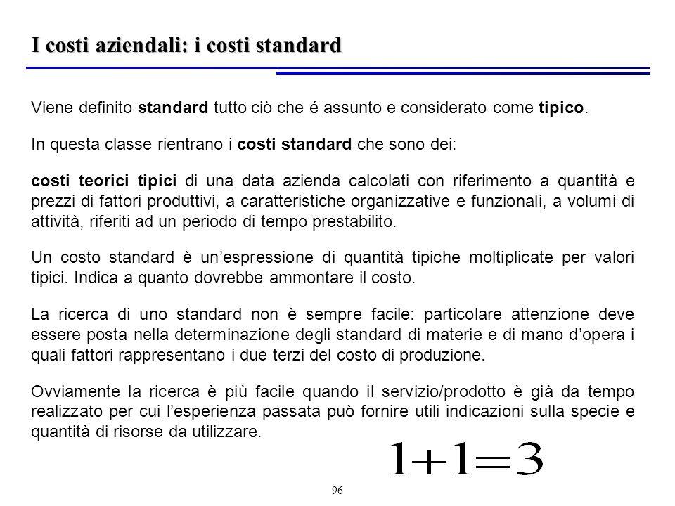 I costi aziendali: i costi standard