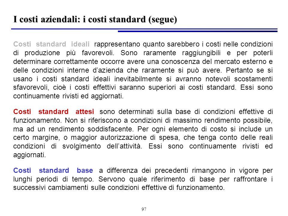 I costi aziendali: i costi standard (segue)