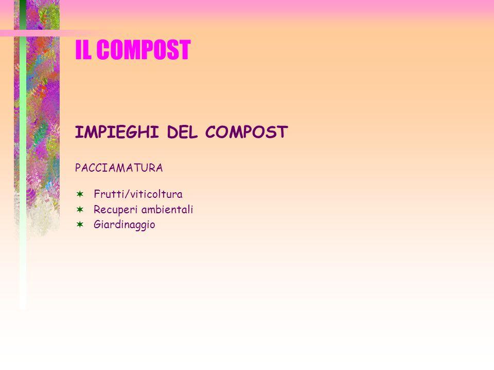 IL COMPOST IMPIEGHI DEL COMPOST PACCIAMATURA Frutti/viticoltura