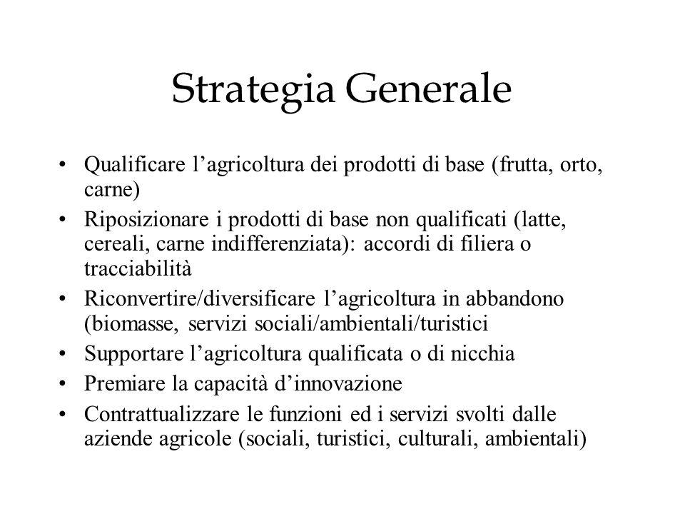 Strategia Generale Qualificare l'agricoltura dei prodotti di base (frutta, orto, carne)