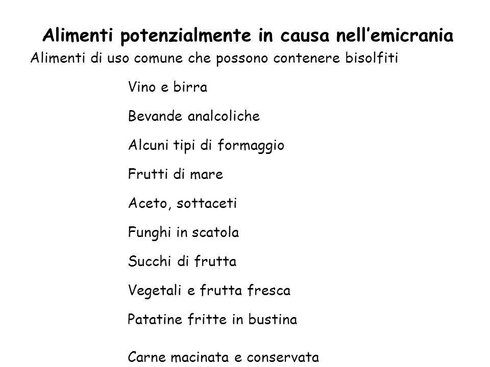 Alimenti potenzialmente in causa nell'emicrania