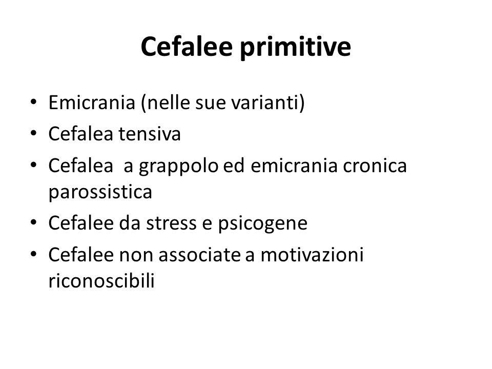 Cefalee primitive Emicrania (nelle sue varianti) Cefalea tensiva