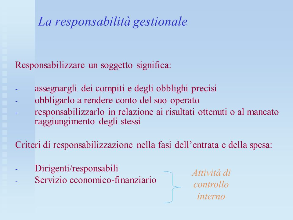 La responsabilità gestionale