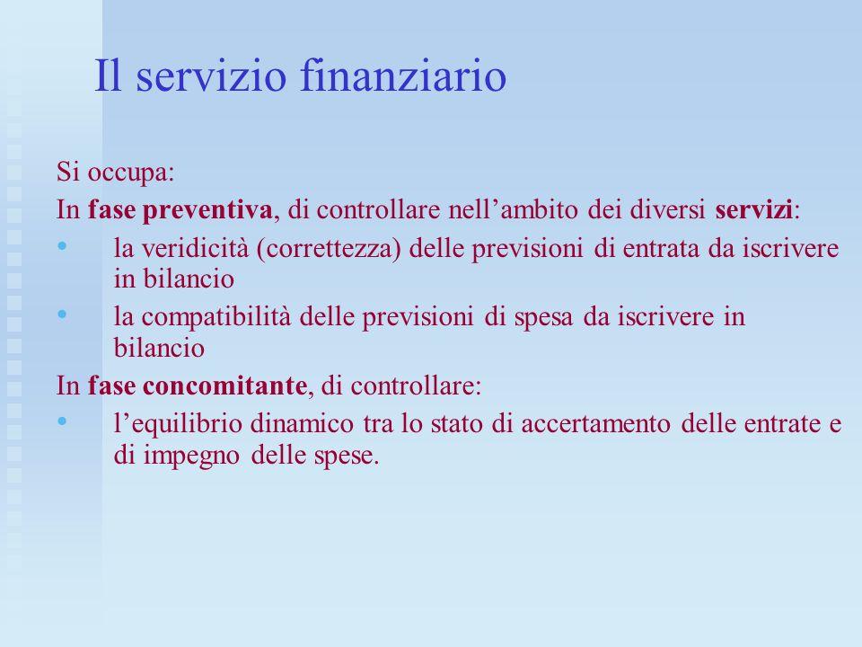 Il servizio finanziario
