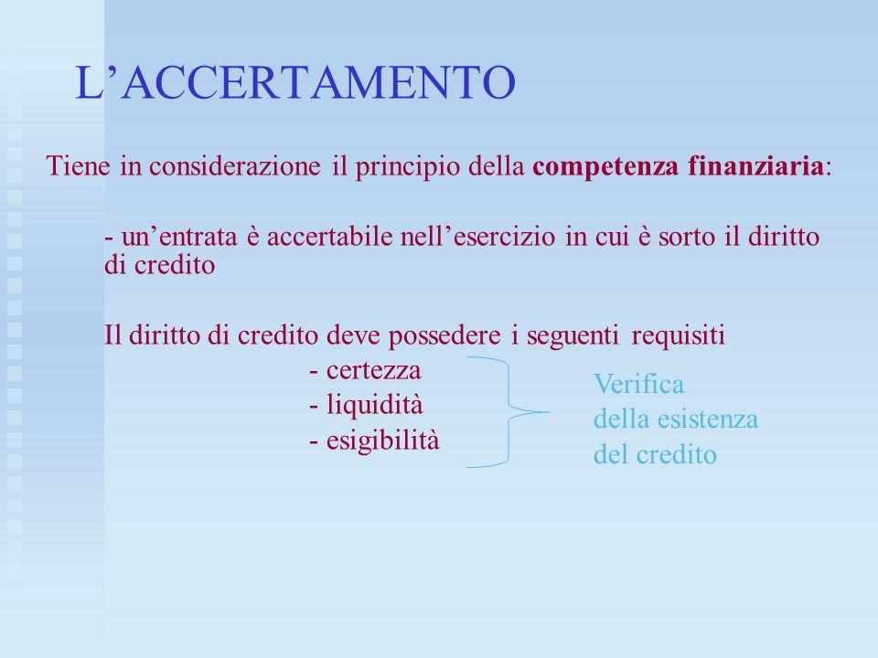 L'ACCERTAMENTOTiene in considerazione il principio della competenza finanziaria: