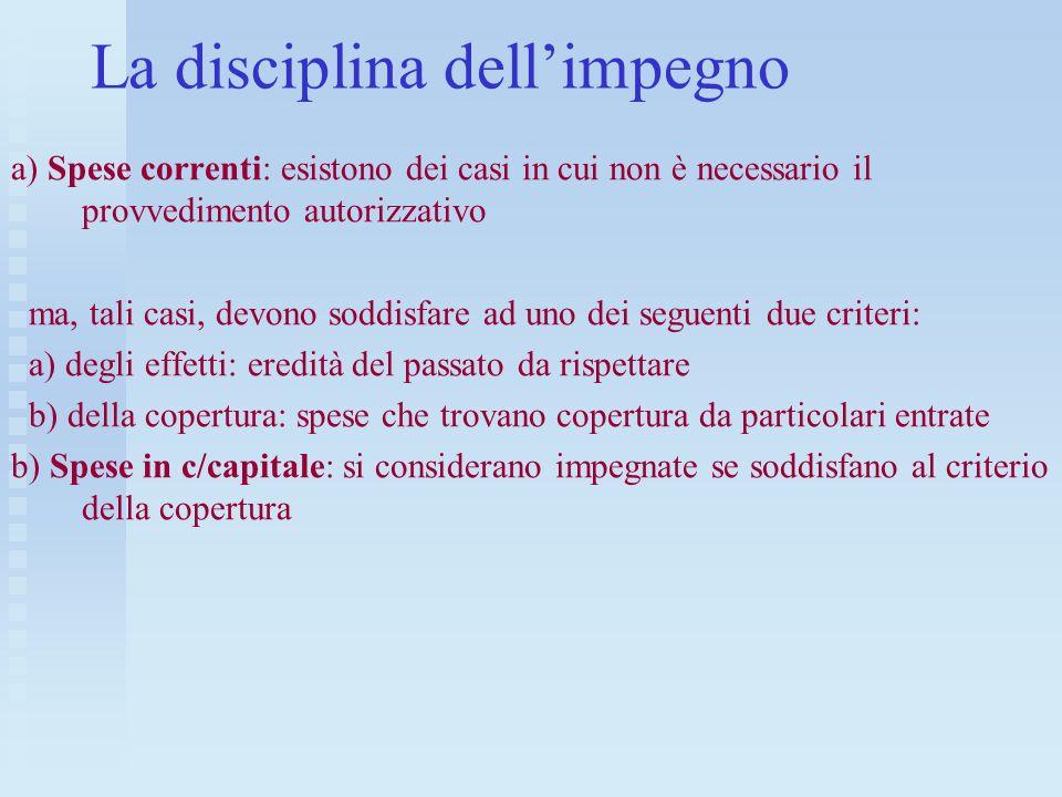La disciplina dell'impegno