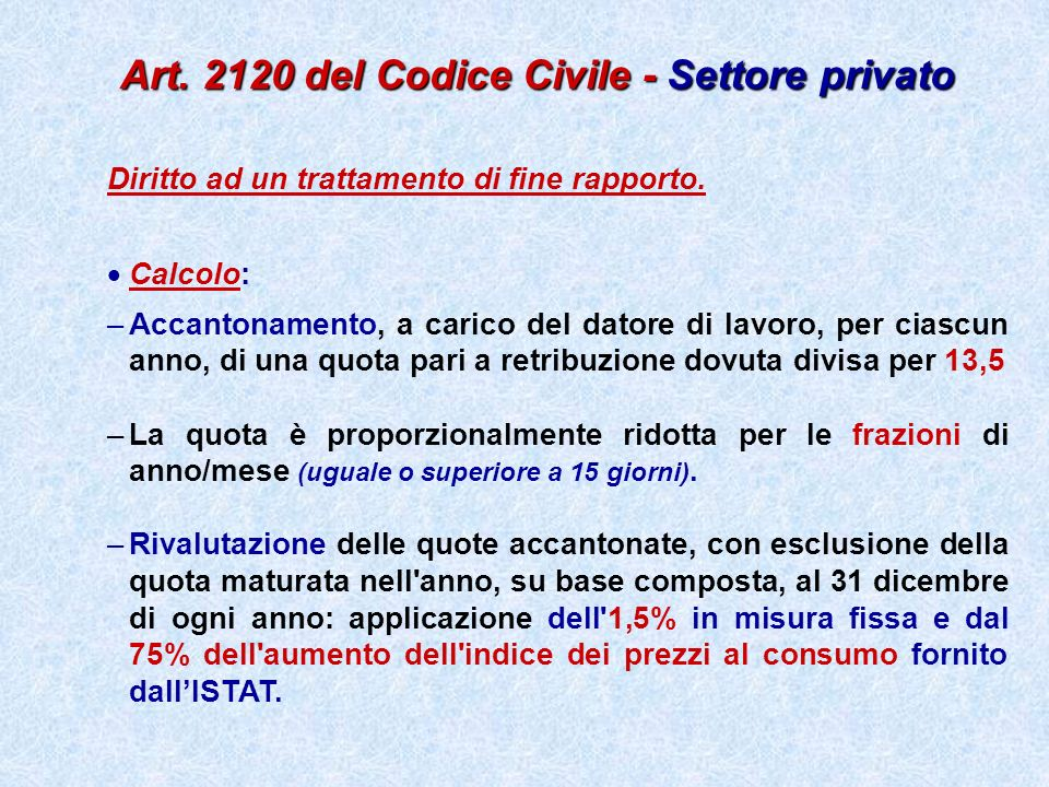 Art. 2120 del Codice Civile - Settore privato