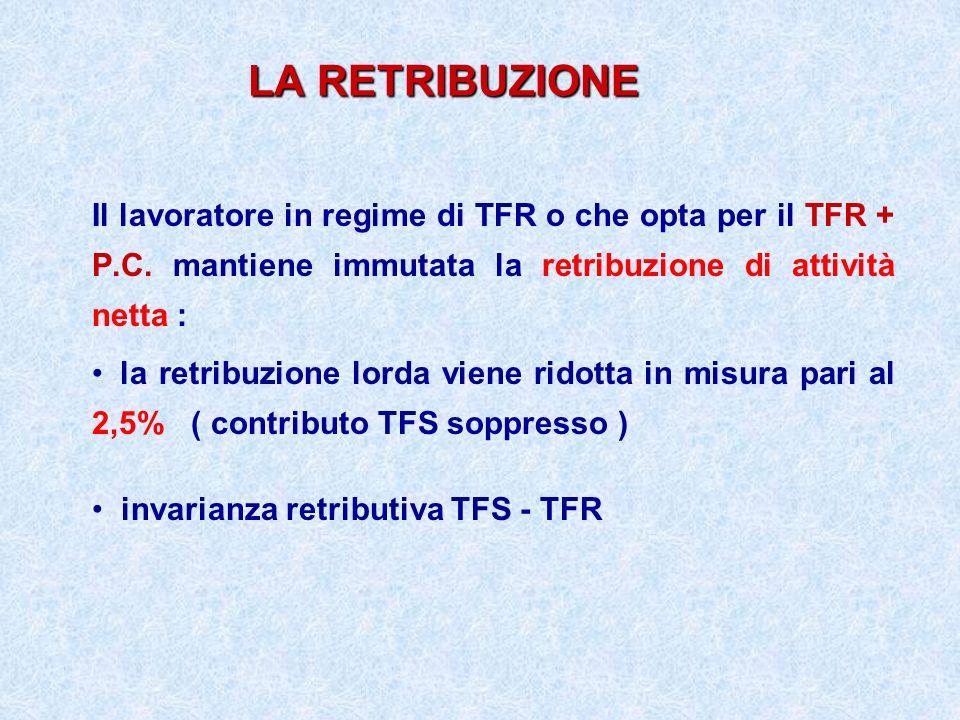 LA RETRIBUZIONE Il lavoratore in regime di TFR o che opta per il TFR + P.C. mantiene immutata la retribuzione di attività netta :