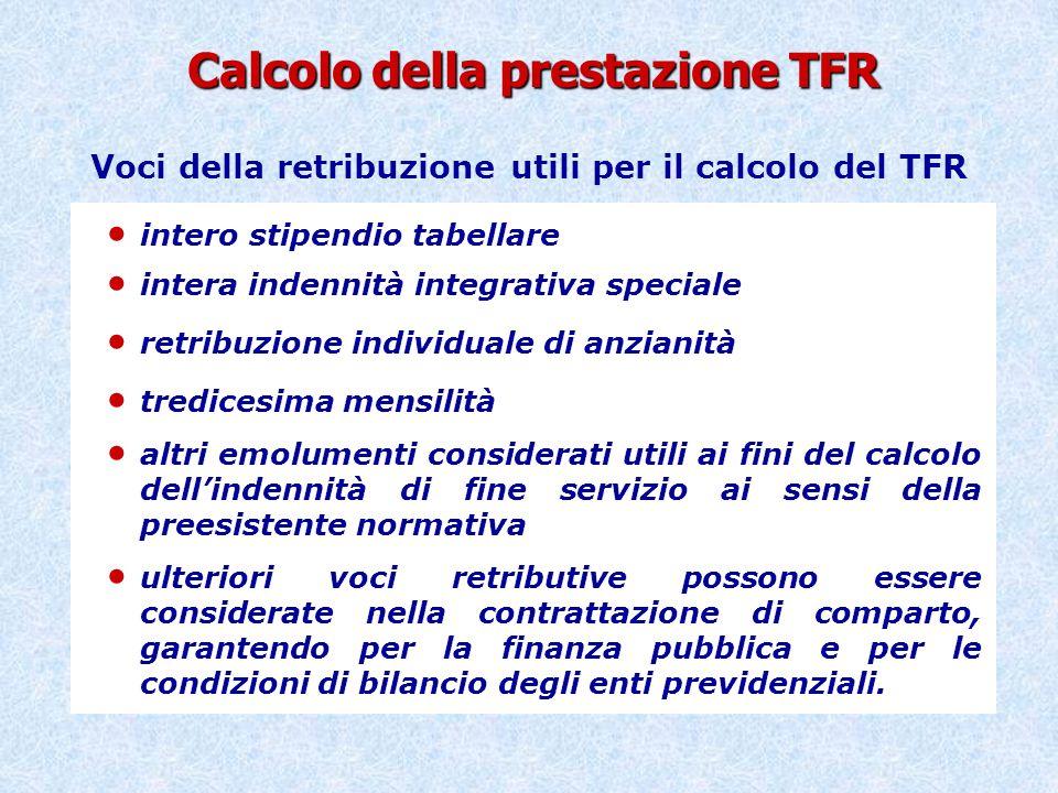 Calcolo della prestazione TFR