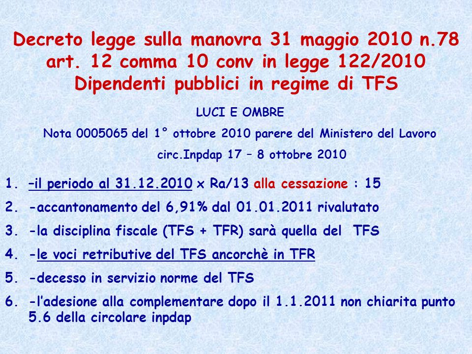 Nota 0005065 del 1° ottobre 2010 parere del Ministero del Lavoro