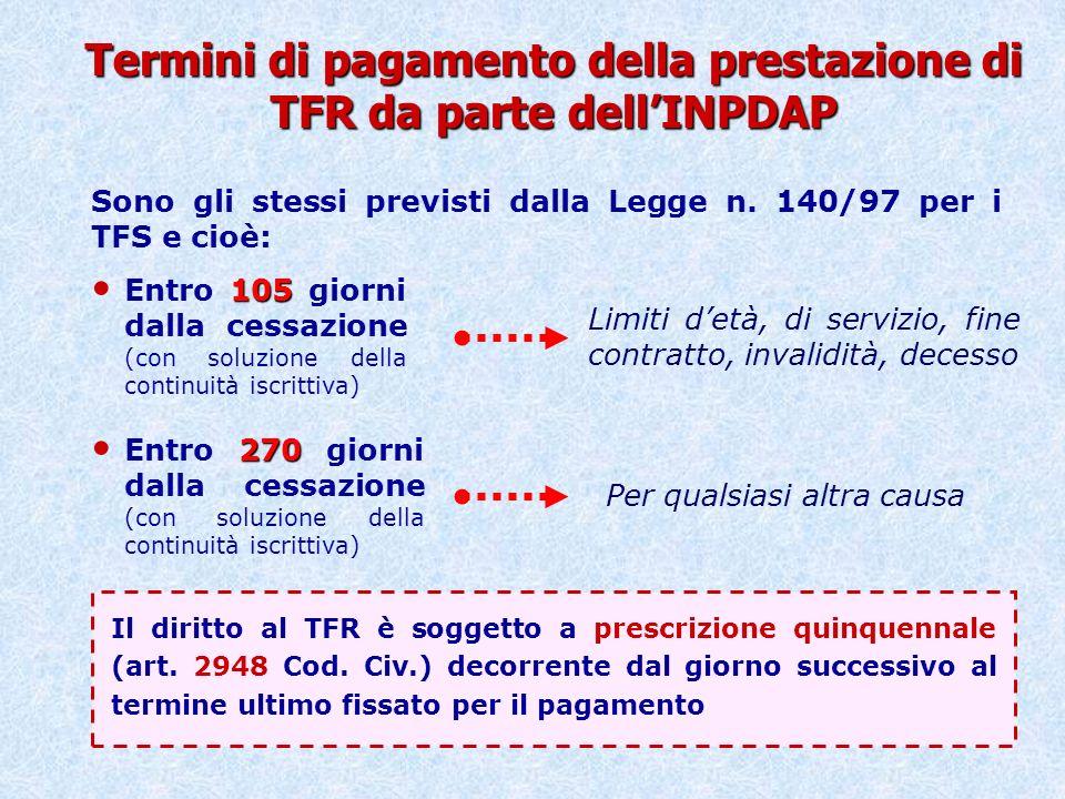 Termini di pagamento della prestazione di TFR da parte dell'INPDAP