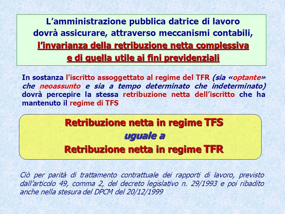 Retribuzione netta in regime TFS uguale a