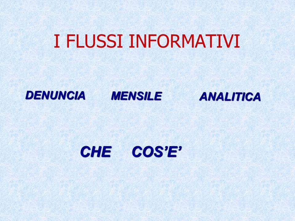 I FLUSSI INFORMATIVI CHE COS'E' DENUNCIA MENSILE ANALITICA