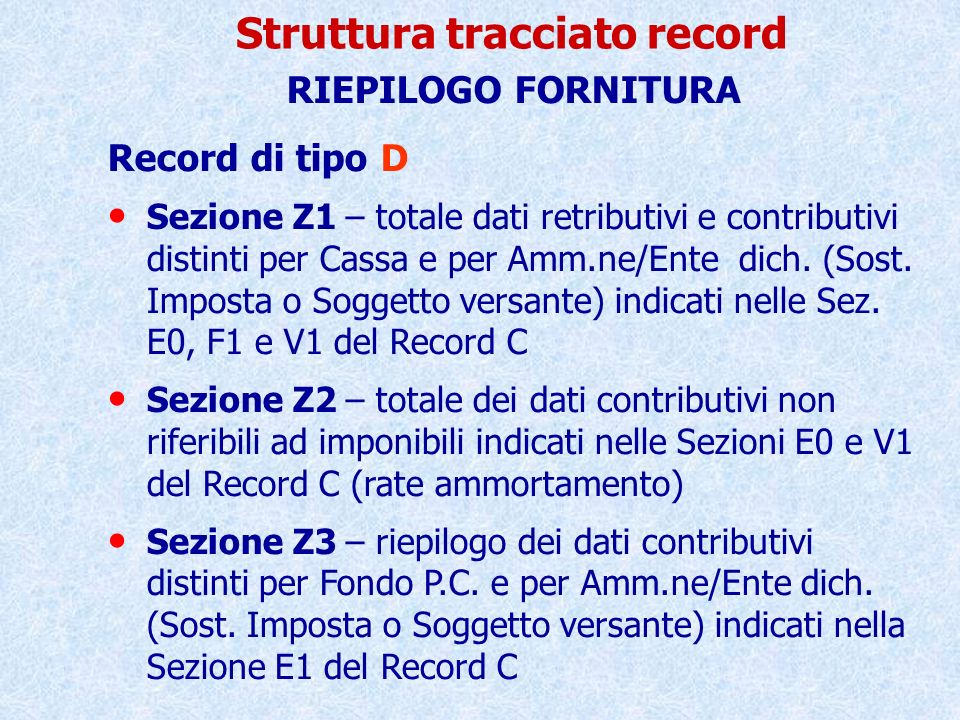 Struttura tracciato record