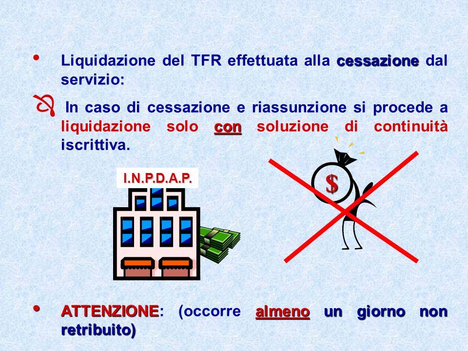 $ Liquidazione del TFR effettuata alla cessazione dal servizio: