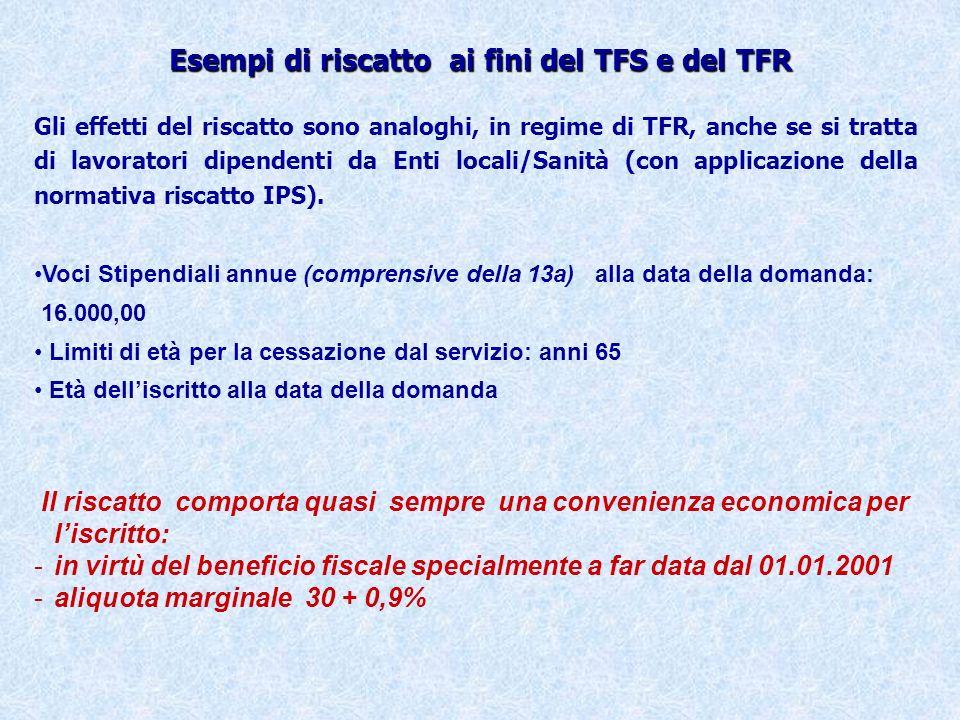 Esempi di riscatto ai fini del TFS e del TFR