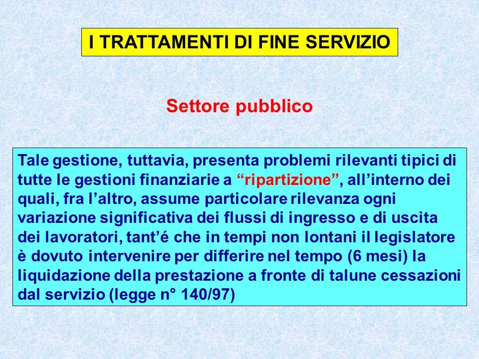 I TRATTAMENTI DI FINE SERVIZIO