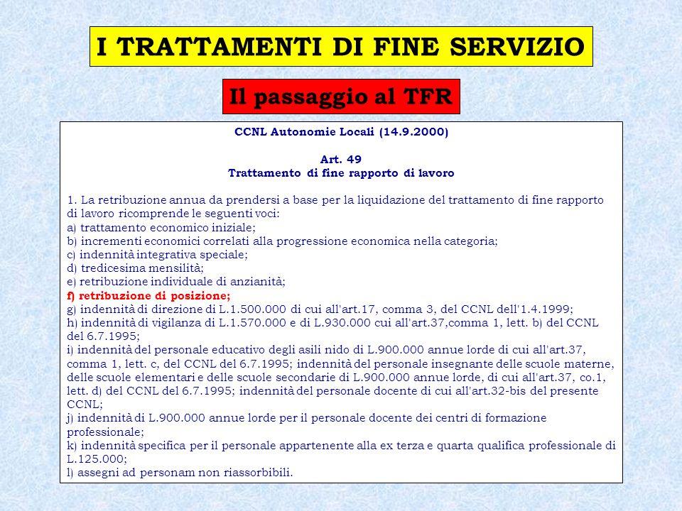 I TRATTAMENTI DI FINE SERVIZIO CCNL Autonomie Locali (14.9.2000)